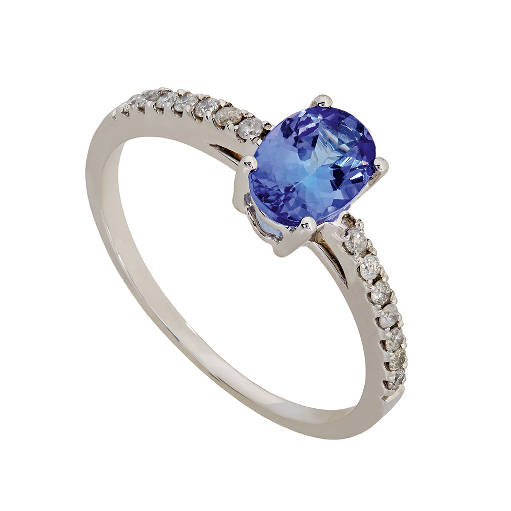 D04029-9_Tanzanite 9kt white gold tanzanite and diamond ring set with 1 oval tanzanite totalling 0.78ct as well as 14 round brilliant cut diamonds totalling 0.14ct, IJ SI. Sold by Dazzling Jewellers