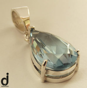 Blue Topaz Pearshape pendant made by Dazzling jewellers