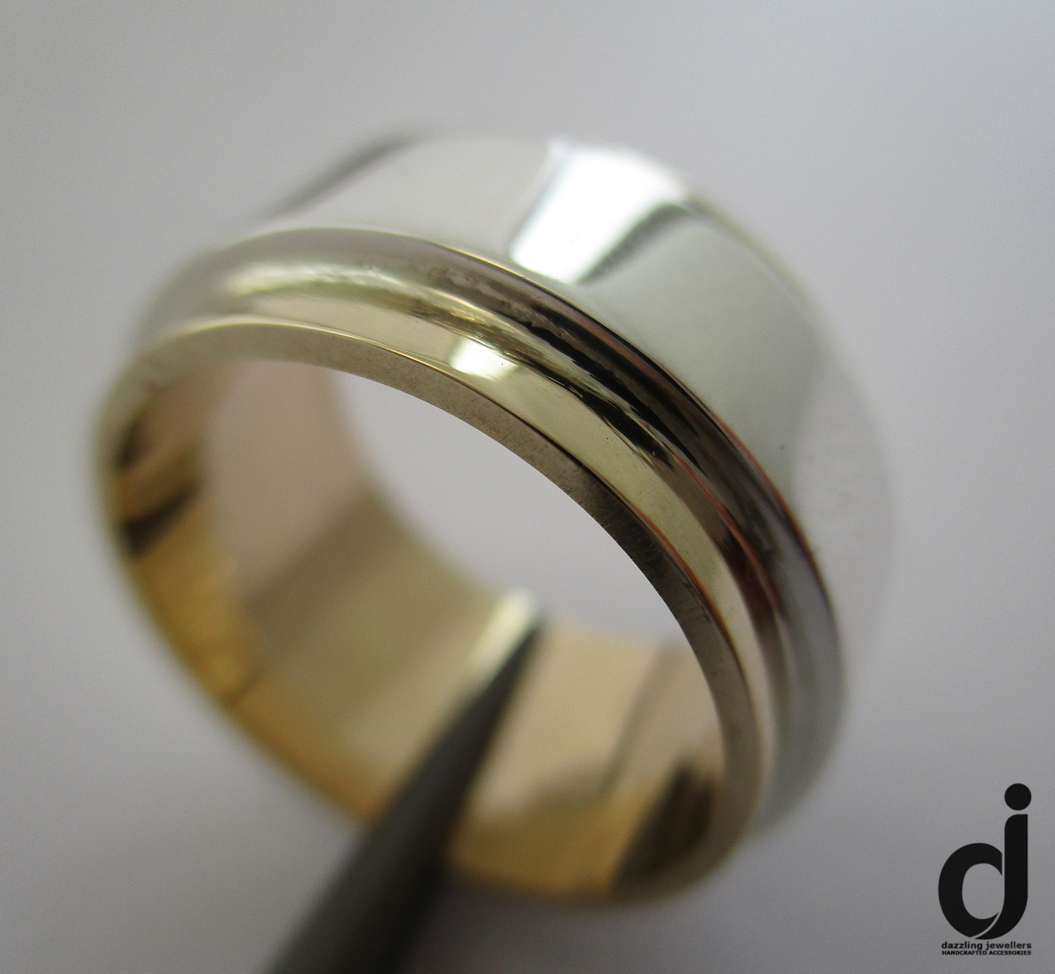 wide 2 tone combination meatl wedding band made by dazzling jewellers