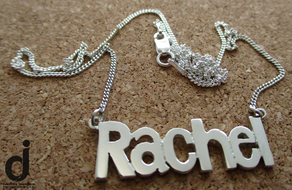 Rachell name pendant mad eby dazzling jewellers