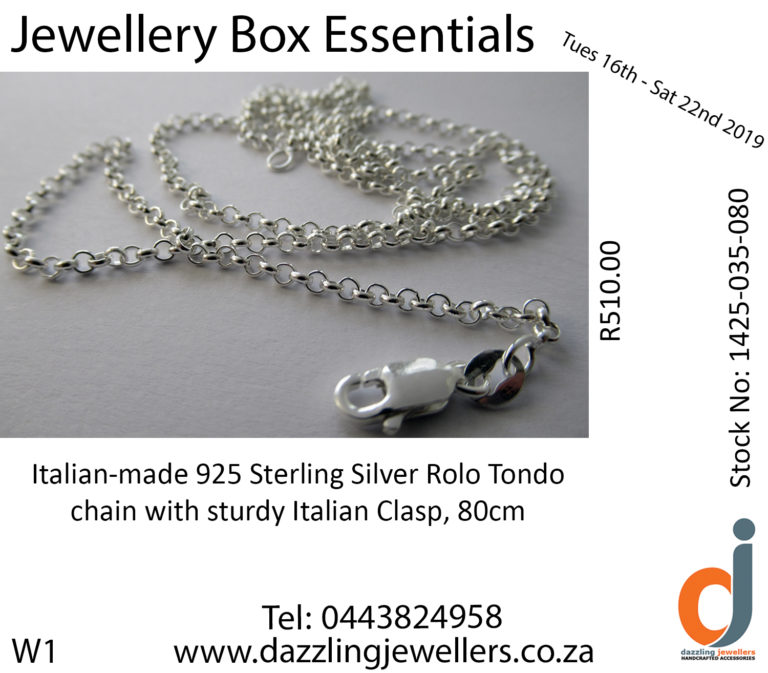 W1 Rolo chain 1425-035-080 chain sold by dazzling jewellers