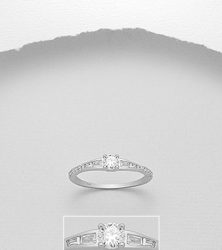 925 Sterling Silver Ring Decorated with CZ Simulated Diamonds23