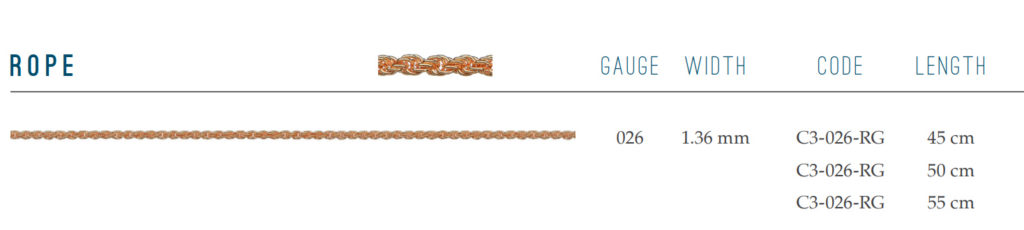 Rope Chain in 9ct red rose gold sold by dazzling jewellers