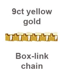 9ct yellow gold box link chain sold by dazzling jewellers