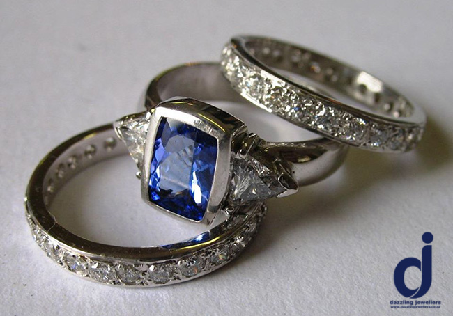 tanzanite tripset made by dazzling jewellers